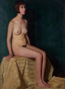 Mujer desnuda sentada